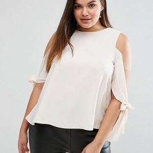 ASOS Curve Tops - ASOS CURVE cold shoulder tie sleeve shirt size 16